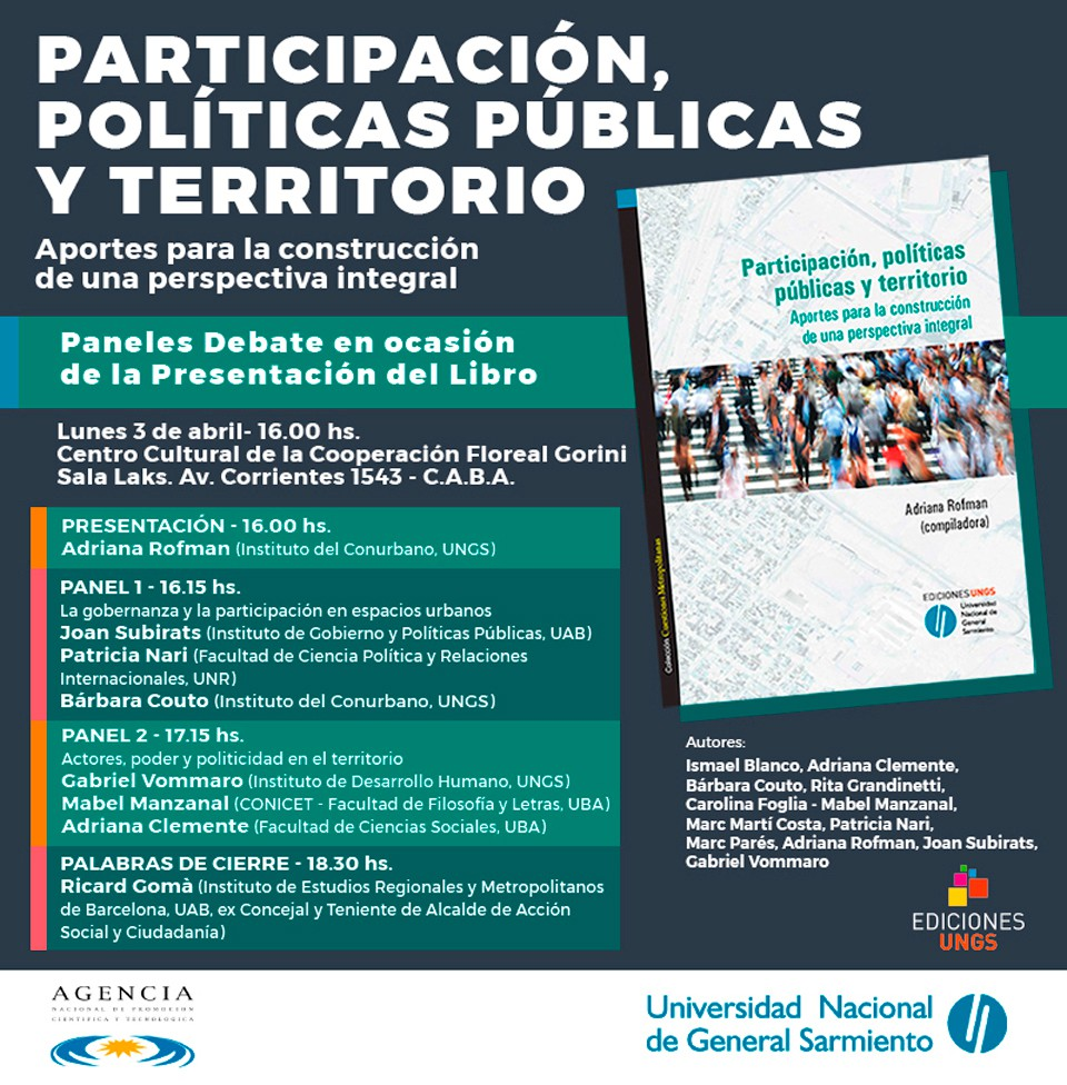 Presentación del libro Participación, Políticas públicas y territorio, en el Centro Cultural de la Cooperación