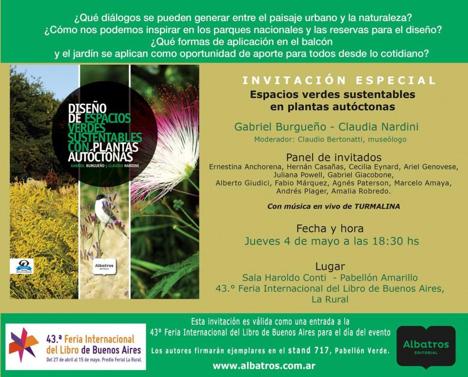 Presentación del Libro de Espacios verdes sustentables. Feria del libro 4 mayo