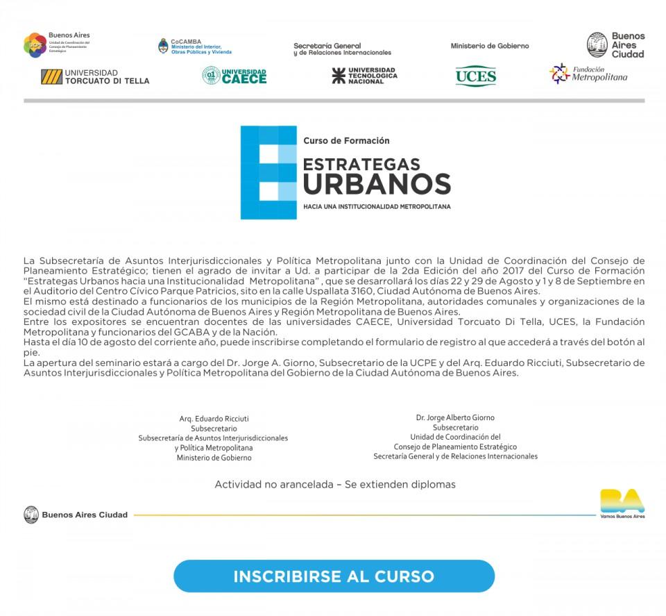 ESTRATEGAS URBANOS, hacia una institucionalidad metropolitana.