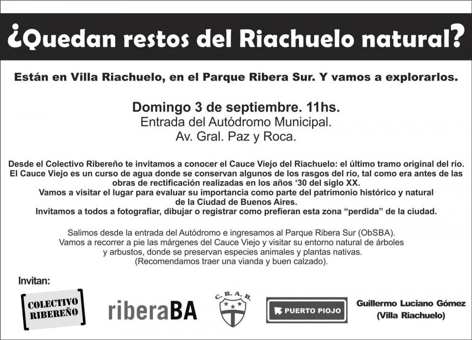 El Colectivo Ribereño invita a una caminata al Cauce Viejo del Riachuelo