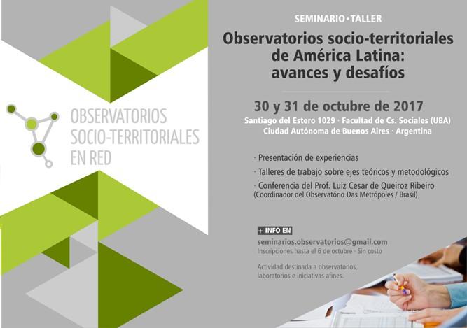 SEMINARIO-TALLER / Observatorios socio-territoriales de América Latina
