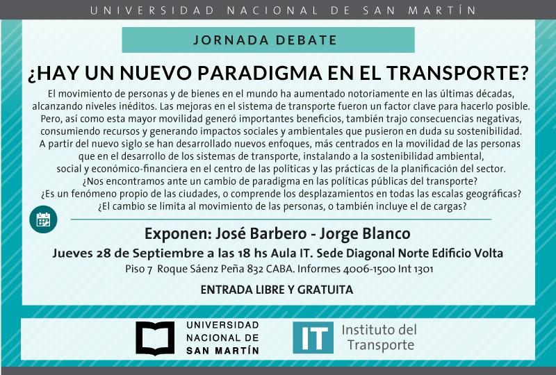 """""""¿HAY UN NUEVO PARADIGMA EN EL TRANSPORTE?"""" - JORNADA-DEBATE"""