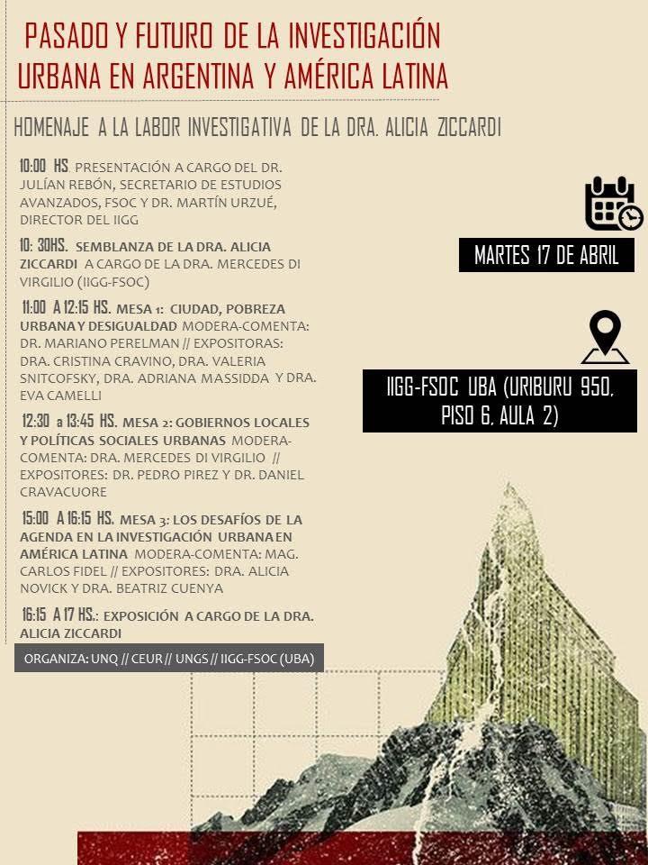 PASADO Y FUTURO DE LA INVESTIGACIÓN URBANA EN ARGENTINA Y AMÉRICA LATINA Instituto de Investigaciones Gino Germani