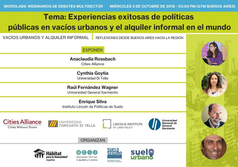 Webinario Experiencias exitosas de políticas públicas en vacíos urbanos