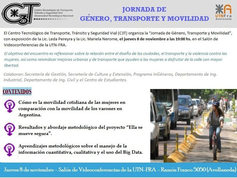 """Jornada """"Género, transporte y movilidad"""" en la UTN Avellaneda"""