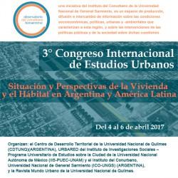 """3° Congreso Internacional de Estudios Urbanos """"Situación y Perspectivas de la Vivienda y el Hábitat en Argentina y América Latina"""" (URBARED – MUNDO URBANO)"""