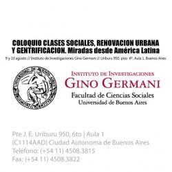 Coloquio Clases sociales, Renovación urbana y Gentrificación. Miradas desde América Latina