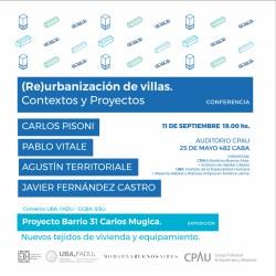 (RE)URBANIZACIÓN DE VILLAS: CONTEXTOS Y PROYECTOS  | CONFERENCIA
