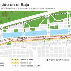 Por la obra del Paseo del Bajo, cambian de recorrido 14 líneas de colectivo y la circulación de cuatro avenidas
