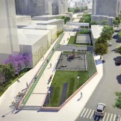 Almagro: construyen una plaza sobre las vías del tren Sarmiento