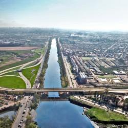 Puente Olímpico Ribera Sur. Cómo se ve desde un dron