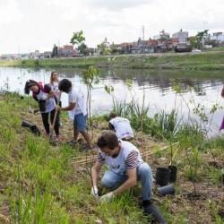 Plantaron 3.000 árboles a orillas del Riachuelo
