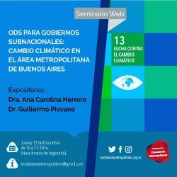 Cambio Climático en el Área Metropolitana de Buenos Aires . Seminario Web: ODS para Gobiernos Subnacionales