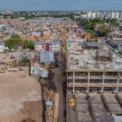 Desde el aire: la obra para hacer un ministerio donde estaba el Elefante Blanco vista desde un drone