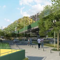 Cómo será la plaza que harán junto al túnel de Libertador, bajo el viaducto del tren Mitre