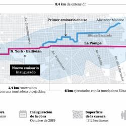 Para aliviar inundaciones, ya funciona el segundo túnel del arroyo Vega