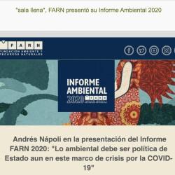 FARN presentó su Informe Ambiental 2020 - Andrés Nápoli en la presentación del Informe